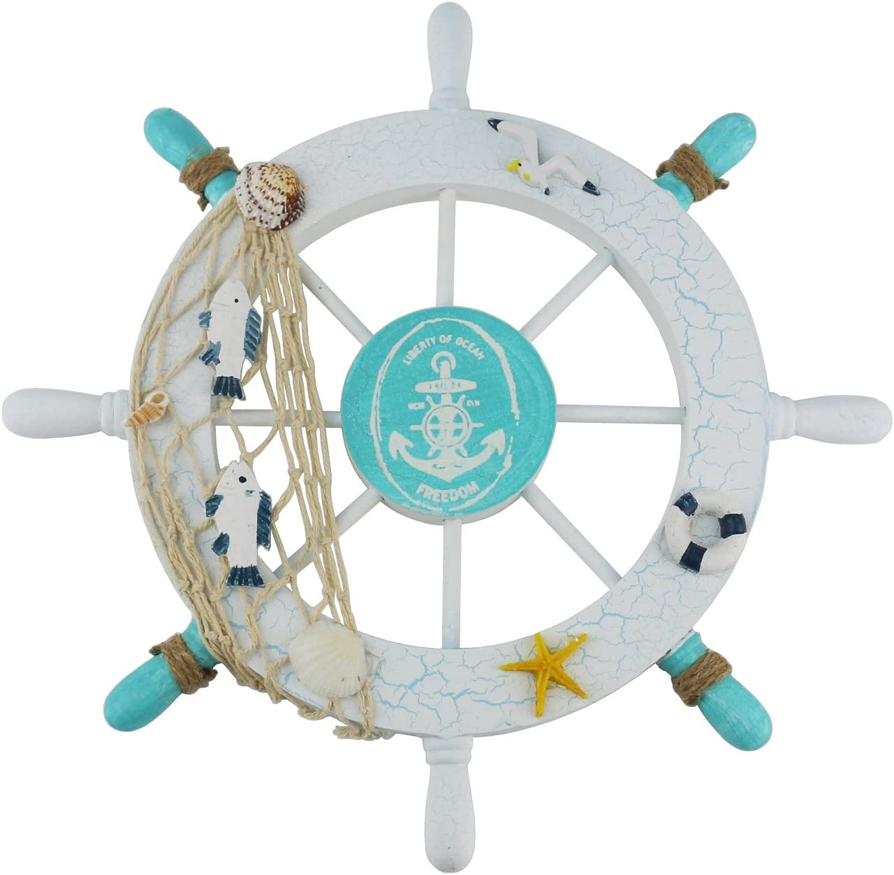Ogrmar Mediterranean Nautical Wooden Boat Ship Steering Wheel/Ha