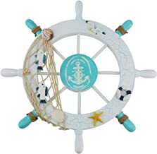 Ogrmar Mediterranean Nautical Wooden Boat Ship Steering Wheel/Handcrafted Wooden Ship Wheel Pirate Decor Wall Door Hanging Ornament Plaque (White Fish)