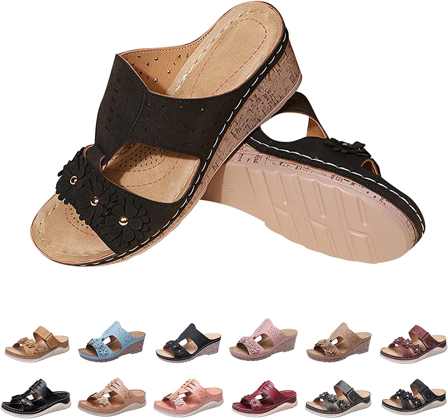 ZiSUGP Women's Sandals Comfortable for Women with Arch Support Casual Walking Wedge Sandals Shoes Comfortable Lightweight
