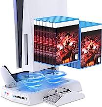 Suporte de carregamento vertical para controles PS5 com ventilador de refrigeração para PS5 Digital Edition/Ultra HD, esta...