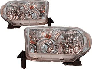 For 2007 2008 2009 2010 2011 2012 2013 Toyota Tundra | Sequoia Headlights Headlamps Pair Set Replacement TO2502171 TO2503171