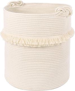 (X-Large, off-white) - Extra Large Woven Storage Baskets - 43cm x 41cm Cotton Rope Decorative Hamper for Magazine, Toys, B...