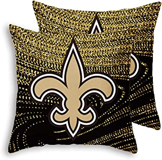 Gloral HIF New Orleans Saints Throw Pillow Covers Set Pack of 2 Cotton Linen Zippered Pillowcase for Car 18