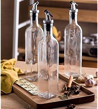 Tebery 4 Pack Oil and Vinegar Cruet Glass Bottles with Dispensers 17oz Oil and Vinegar Dispenser Set