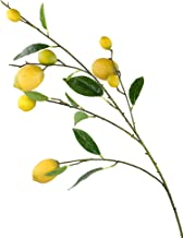 Rinlong Artificial Lemon Branch with 8 Yellow Fake Lemons Leaves Stem for Indoor Events Decor
