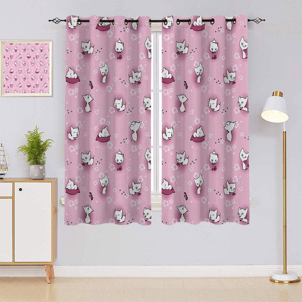 Kids Window Curtain Panels Cute Houston Mall with Kittens in Playful Flowers ! Super beauty product restock quality top!