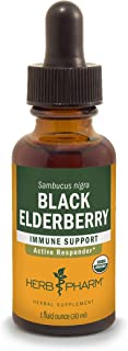 Herb Pharm Certified Organic Black Elderberry Liquid Extract for Immune System Support, Organic Cane Alcohol, 1 Ounce
