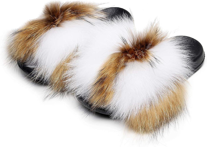 HONGTEYA Real Fox Fur Slides Slippers for Women Toddler Girls Feather Slip On Summer Furry Sandals Flip Flops Shoes Flats