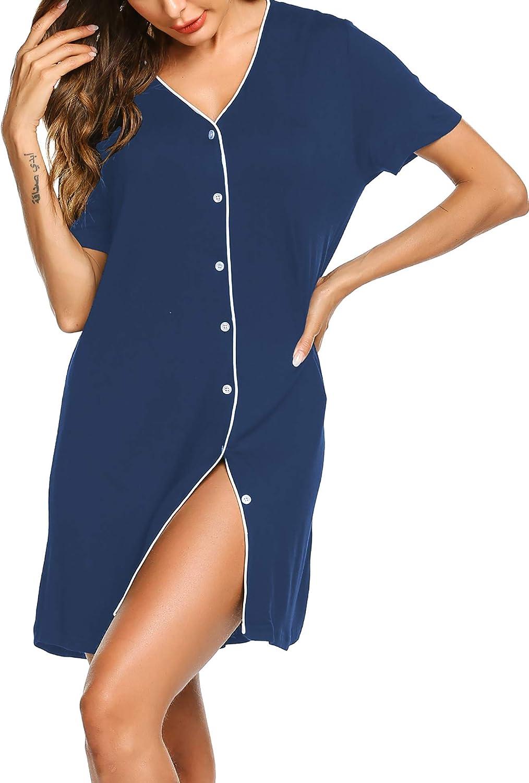 Ekouaer Sleepwear Women's Night Shirt Short Sleeve Casual Sleepshirt Button Down Nightgown S-XXL