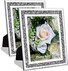 Crushed Diamond Wedding Mirror Photo Frame, Crystal Silver Glass Picture Frame For Photograph Size 8x10 inch, Pack of 2 Pieces, table top Stand frame & Wall Frame. Bling Sparkle Crushed Diamond Home Decor.
