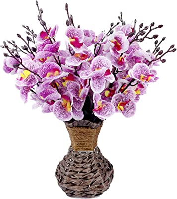 Artificial Orchid Silk Phalaenopsis Flower Arrangement with Handmade Vase for Home, Kitchen or Office Decoration (Purple Orchids)
