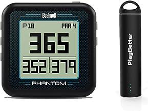 بسته نرم افزاری Bushnell Phantom (Black) با شارژر USB قابل حمل PlayBetter (2200mAh) | جیپیاس دستی گلف ، ساخته شده در سبد خرید گلف ، 35،000+ دوره های از قبل لود شده ، جمع و جور و سبک وزن