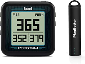 Bushnell Phantom (Black) Power Bundle with PlayBetter Portable USB Charger (2200mAh) | Handheld Golf GPS, Built-in Golf Cart Magnet, 35,000+ Pre-Loaded Courses, Compact & Lightweight