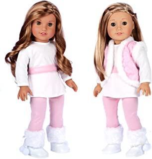 - Snowflake - 4 Piece Outfit - Leggings, Tunic, Vest and Boots - Clothes Fits 18 Inch American Girl Doll (Doll Not Included)