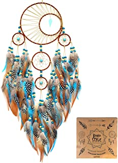 Littlear Dream Catcher Handmade Turquoise Dream Catchers with Feathers Wall Hanging Home Decor Dia 6
