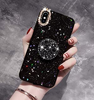 for iPhone 10 Case Stars, SevenPanda Diamond Soft Rubber Bumper Luxury Bling Diamond Glitter Crystal with Glitter Airbag Stand Holder for Girls (Black, for iPhone X XS 5.8 inch)