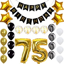 Happy 75th Birthday Banner Balloons Set for 75 Years Old Birthday Party Decoration Supplies Gold Black