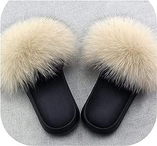 Women's Fox Fur Slippers Indoor Flat Warm Furry Slippers Outside Girls Plush Sandals
