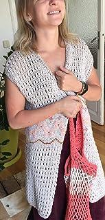 Chaleco de verano tejido y bordado 100% a mano, color beige, de algodón y acrílico, talla única