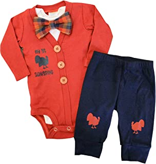 Baby Boys Thanksgiving Outfit My First Thanksgiving Bodysuit Romper + Pants Clothes 3Pcs Sets