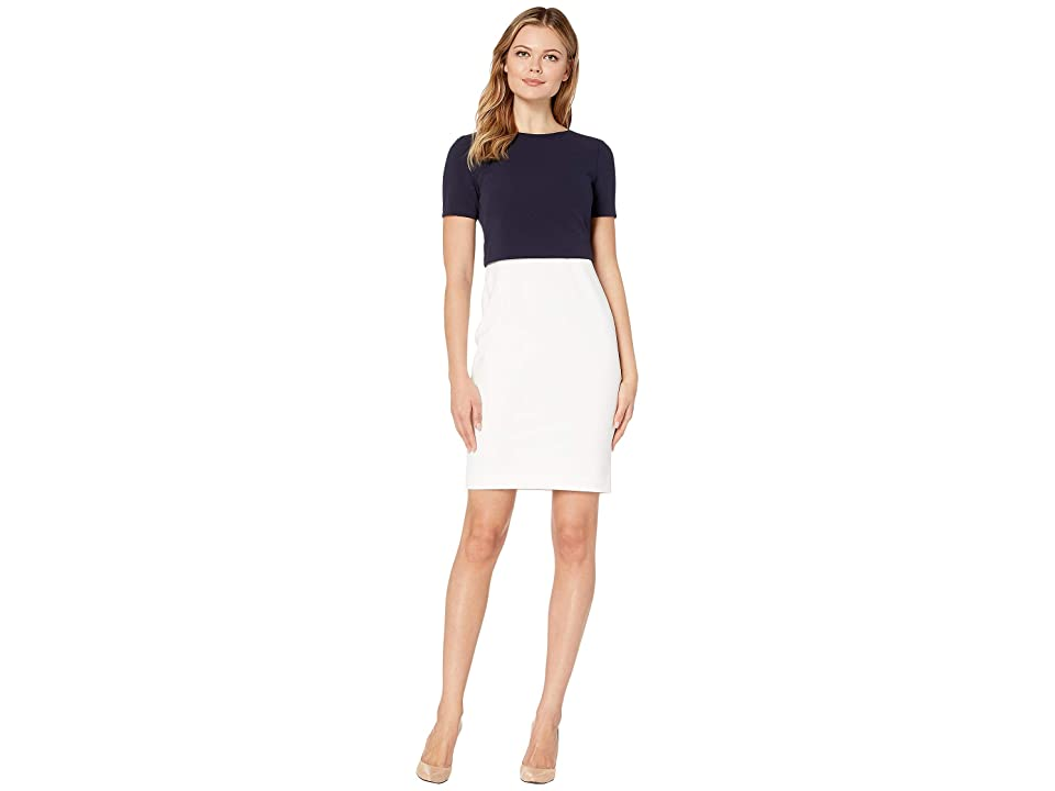 LAUREN Ralph Lauren Jeri Two-Tone Dress (Cream/Lighthouse Navy) Women
