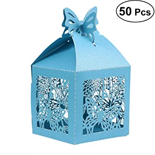 TOYANDONA 50pcs Wedding Favor Candy Container Boxes Craft Paper Foldable Butterfly Hollow Out Box for Gifts Candy Chocolate Sweets Blue