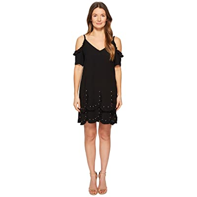 The Kooples Short Sleeve Crepe Dress (Black) Women