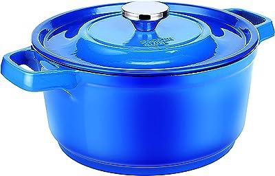 COOKER KING Dutch Oven Enameled Cast Iron Stovetop Casserole Cookware Braising Pot, Porcelain Enamel Coated Cast-Iron Baking Pots with Lid Classic Enamel Casserole Pot & Handles,Blue, 5 Quart