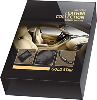 AREON GOLD STAR LEATHER COLLECTION Quality Perfume for Car - Air Freshener … (1, GOLD)