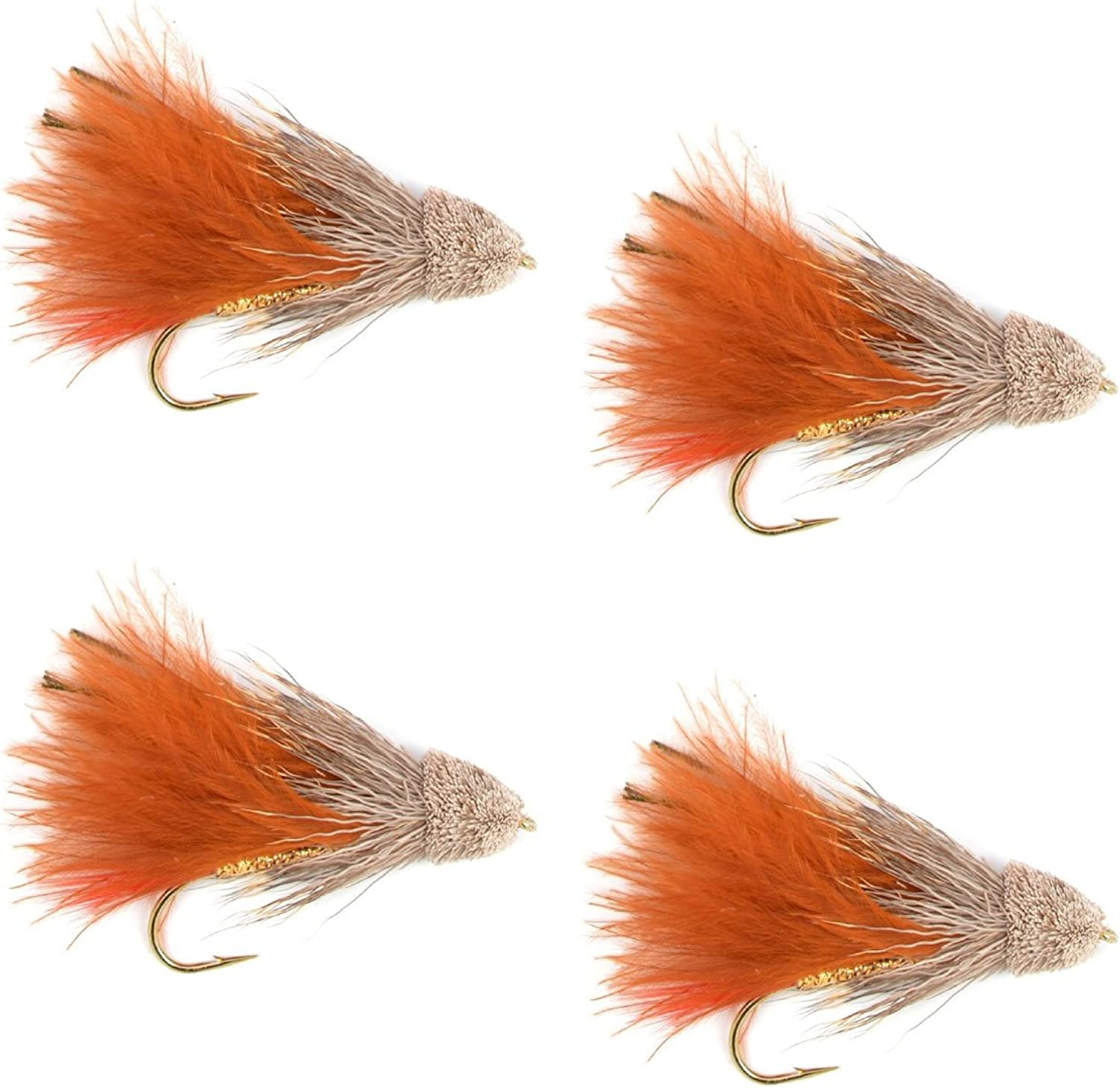 The Fly Fishing Place Streamers  Brown Marabou Muddler Minnow Streamer Flies  4 Fly Fishing Flies  Hook Size 4