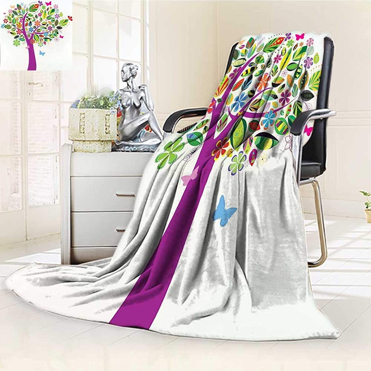 Digital Printing Duplex Printed Blanket Tree of Life Ornate Vibrant Floral Tree with Flying Butterflies Fresh colors Nature Home Multi Summer Quilt Comforter  W47 x H59