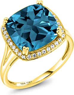 10K Solid Yellow Gold London Blue Topaz and White Diamond Women's Engagement Ring (8.54 Cttw Cushion Cut, Available 5,6,7,8,9)