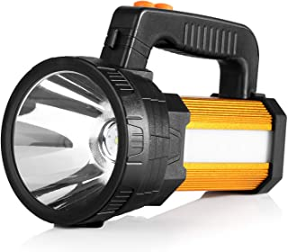 BUYSIGHT Bright Rechargeable Camping Flashlight LED Handheld Flashlight Spotlight hand held CREE Spotlight 6000 Lumens Ultra-long Standby Searchlight with USB OUTPUT as a Power Bank (golden)