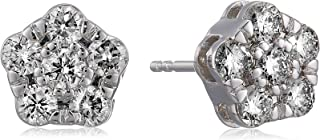 1 cttw Diamond Stud Earrings In 14K White Gold I1-I2 Clarity With Push-Backs