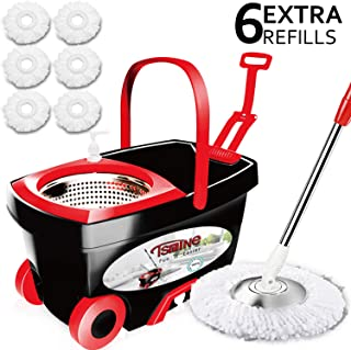 Tsmine Spin Mop & Bucket Floor Cleaning System, Stainless Steel Mop Bucket with Wringer on Wheels - 6 Mop Heads - 61