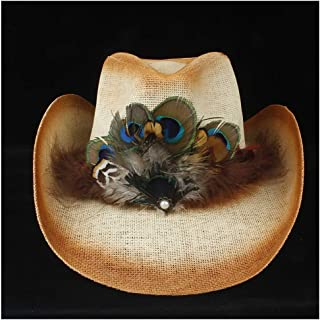 2019 Women Womens Summer Handmade Hat for Women Hollow Western Cowboy Hat Lady Beach Feather Sombrero Hombre Straw Panama Cowgirl Jazz Sun Cap Ladies Fashion (Color : Tan, Size : 56-58)