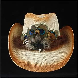 SXQ Summer Men's Women's Straw Hat 100% Leather Casual Denim Sunproof Western Cowboy Hat Fedora Hat Hollow Hat Outdoor Travelling Beach Sun Hat With Peacock Feather Decoration Gentlemen's Hat UV Prote