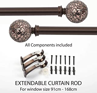 Deco Window 1 Inch Adjustable Brown Curtain Rod for Windows Curtains with Decorative Round Mosaic Finials & Brackets Set - 36