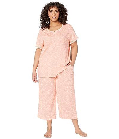 Karen Neuburger Plus Size Island Breeze Short Sleeve Henley Capris PJ (Geo Apricot Blush) Women