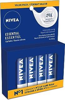 NIVEA Essential Lip Balm Multipack (4x4.8g Stick), Intensive Caring Lip Moisturizer With Jojoba Oil, Natural Avocado & She...