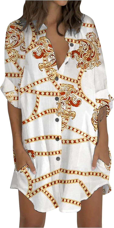 Womens Dresses Casual Short Mini Dress Three-Quarter Sleeve Printing Lapel Button Loose Daily Shirt Dress