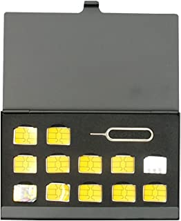 [BlueCraft] nanoSIMカード収納用アルミケース 12枚収納 取り出し リリースピン 紛失防止 持ち運び ケース 出張 海外旅行 MVNO SIMカード変換アダプタセット付属 (ブラック)