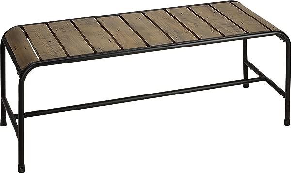 Cortesi Home CH DB905740 Audrey Black Metal Frame Wood Dining Bench 46 Driftwood