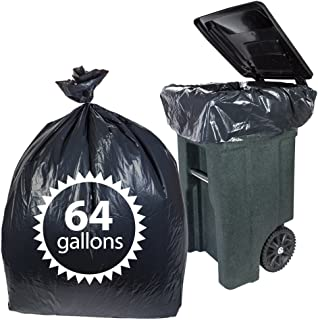 Primode Toter 64 Gallon Trash Bags 50 Count Heavy Duty Black Garbage Bag for Indoor Or Outdoor Use 50x60 Made in The USA