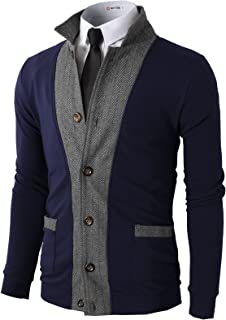 H2H Mens Casual Slim Fit Jacket Cardigans Long Sleeve Thermal of Various Styles