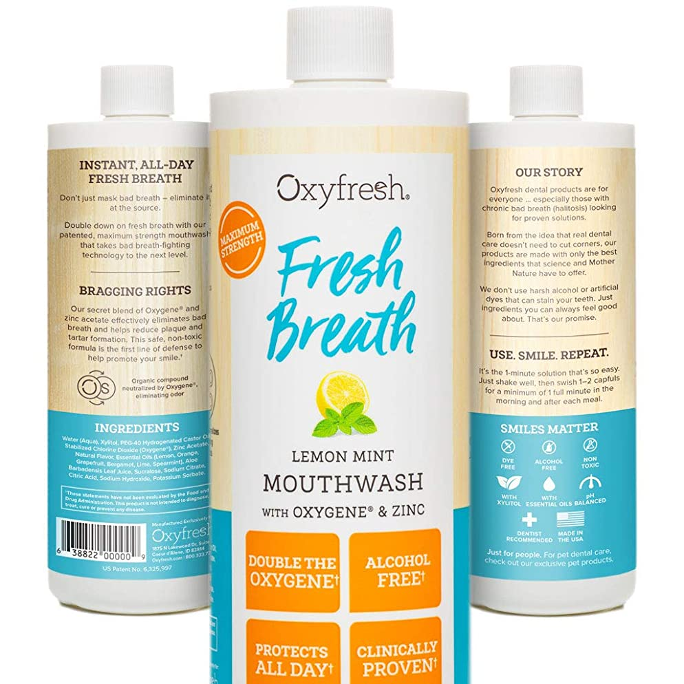 Oxyfresh Lemon Mint Mouthwash - Oxygene & Zinc – 1 bottle 16oz- Alcohol Free Solution for Long-Lasting Fresh Breath & Dry Mouth Prevention Dye-Free, Gluten Free, Naturally Flavored with Essential Oils