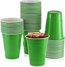 16 oz Green Cups [50 Pack] Disposable Plastic Cup, Big Birthday Party Cups Christmas Plastic Cups
