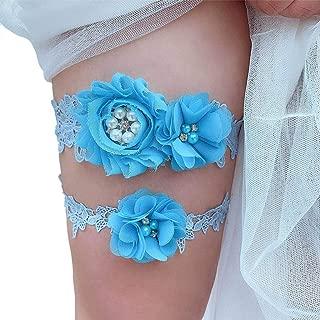 Giarrettiera Matrimonio Sposa Calze Bianco Panna Pizzo Blu fiocco una taglia