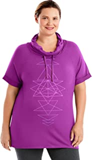 Just My Size Women's Plus Size Active Graphic Cowl Neck Pullover
