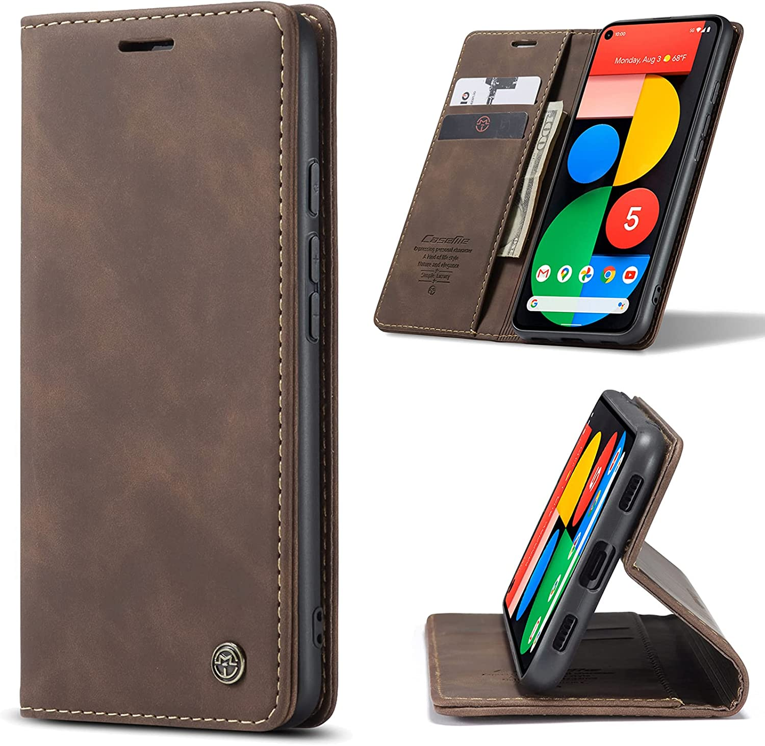 Kowauri Case for Google Pixel 5A 5G,Magnetic Closure Leather Wallet Flip Case with Card Slot Kickstand Shockproof Protective Cover for Google Pixel 5A 5G (Coffee)